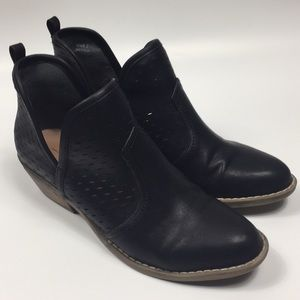 Report black lasercut ankle cutout booties. 7.